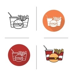 Food flat design linear and color icons set vector image