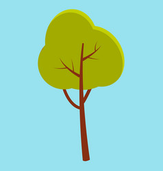 green summer tree with brown stem isolated on blue vector image vector image