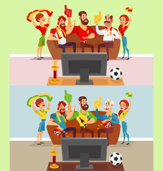 groups of people watching a football match on tv vector image