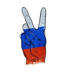 hand gesture of victory flag Russia Moscow vector image