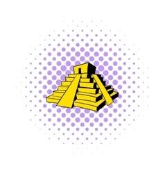 Mayan pyramid icon comics style vector image