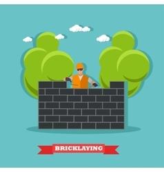 People build bricks wall construction site vector