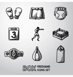 Set of boxing hand drawn icons - gloves shorts vector image vector image