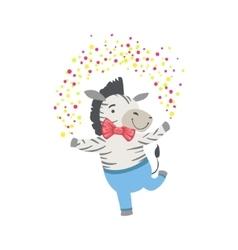 Zebra Cute Animal Character Attending Birthday vector image vector image