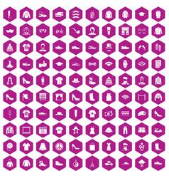 100 fashion icons hexagon violet vector