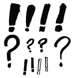 drawn exclamation and question marks vector image