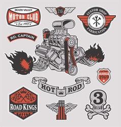 Hot rod motor engine racing set vector image