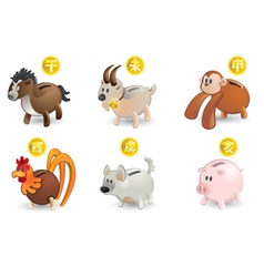 piggy bank of chinese zodiacs vector image vector image