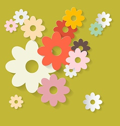Retro Flowers Green Paper Background vector image