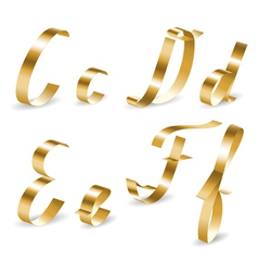 Ribbon alphabet cdef vector image
