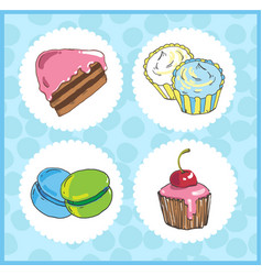 set of icons of sweets with cake cupcake vector image vector image