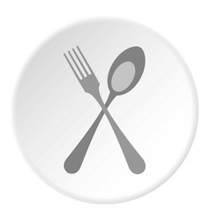 Spoon and fork icon flat style vector