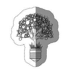 sticker grayscale contour with light bulb base vector image