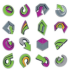 3d abstract shapes different business icons and vector image