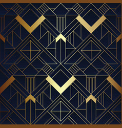 Abstract art deco blue and golden pattern vector