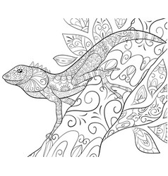 adult coloring bookpage a cute lizard on the vector