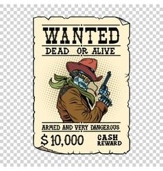 Armed robot cowboy Steampunk retro ad vector