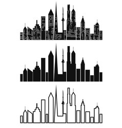Black cityscape icons set vector