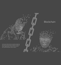 Blockchain artificial intelligence poster vector