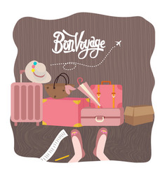 bon voyage luggage bag traveling vector image