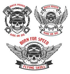 Born for speed set biker skulls in helmets vector