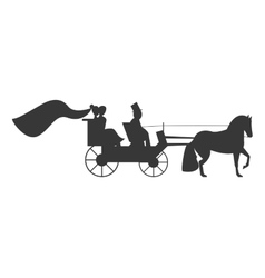 bride and groom on carriage icon vector image