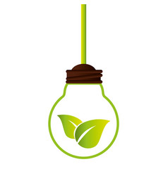 bulb with leafs ecology symbol vector image