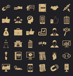 business training icons set simple style vector image