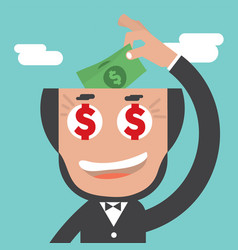 businessman keeps banknotes in bald head vector image