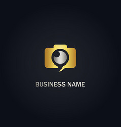 Camera photography gold logo vector