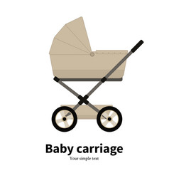 cartoon beige baby carriage pram vector image