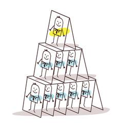 Cartoon leadership and cards pyramid vector