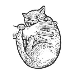 cat bites hand sketch vector image