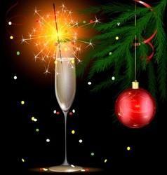 champagne and christmas sparkler vector image
