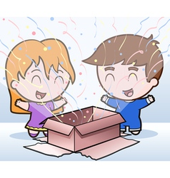 children and a present vector image