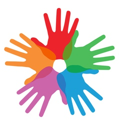 Circle of colorful hand prints vector
