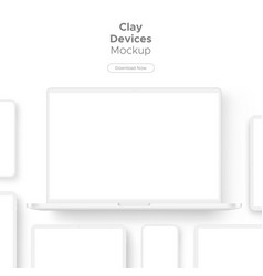 clay responsive devices mockup vector image