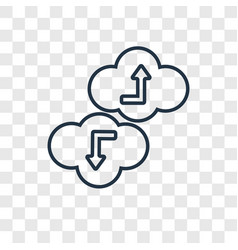 Cloud concept linear icon isolated on transparent vector