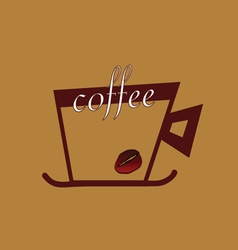 coffee with beans color vector image