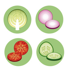 collection fresh vegetables healthy vector image