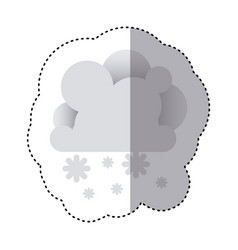 Color sticker with cumulus of clouds and snow fall vector