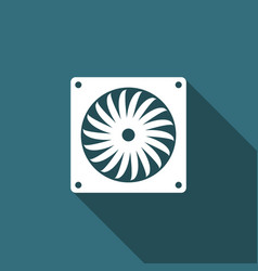 computer cooler with long shadow pc hardware fan vector image