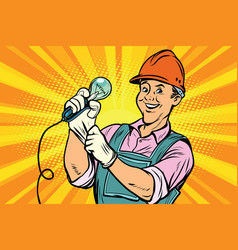Construction worker with light bulb vector