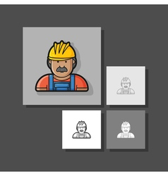 Contour icon builder in helmet and overa vector
