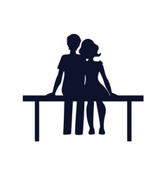 Couple in love sit on bench vector