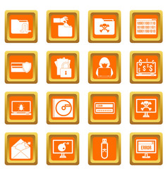 criminal activity icons set orange vector image
