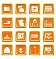 Criminal activity icons set orange vector