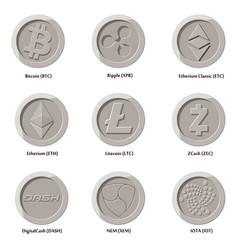 crypto currency icons coin vector image