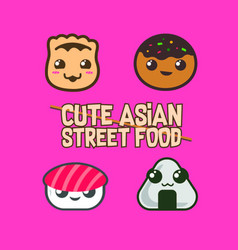 Cute asian street food icon vector