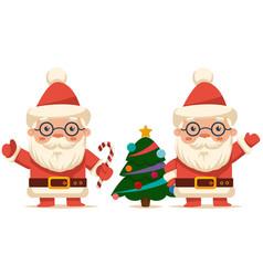 cute santa claus cartoon character set christmas vector image